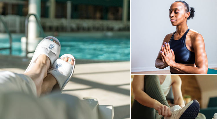 relaxing by the pool with Temple Garden Hotel & Spa robe and slippers after workout.