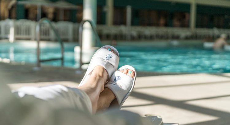 relax in Temple Garden Spa Robe and Slippers